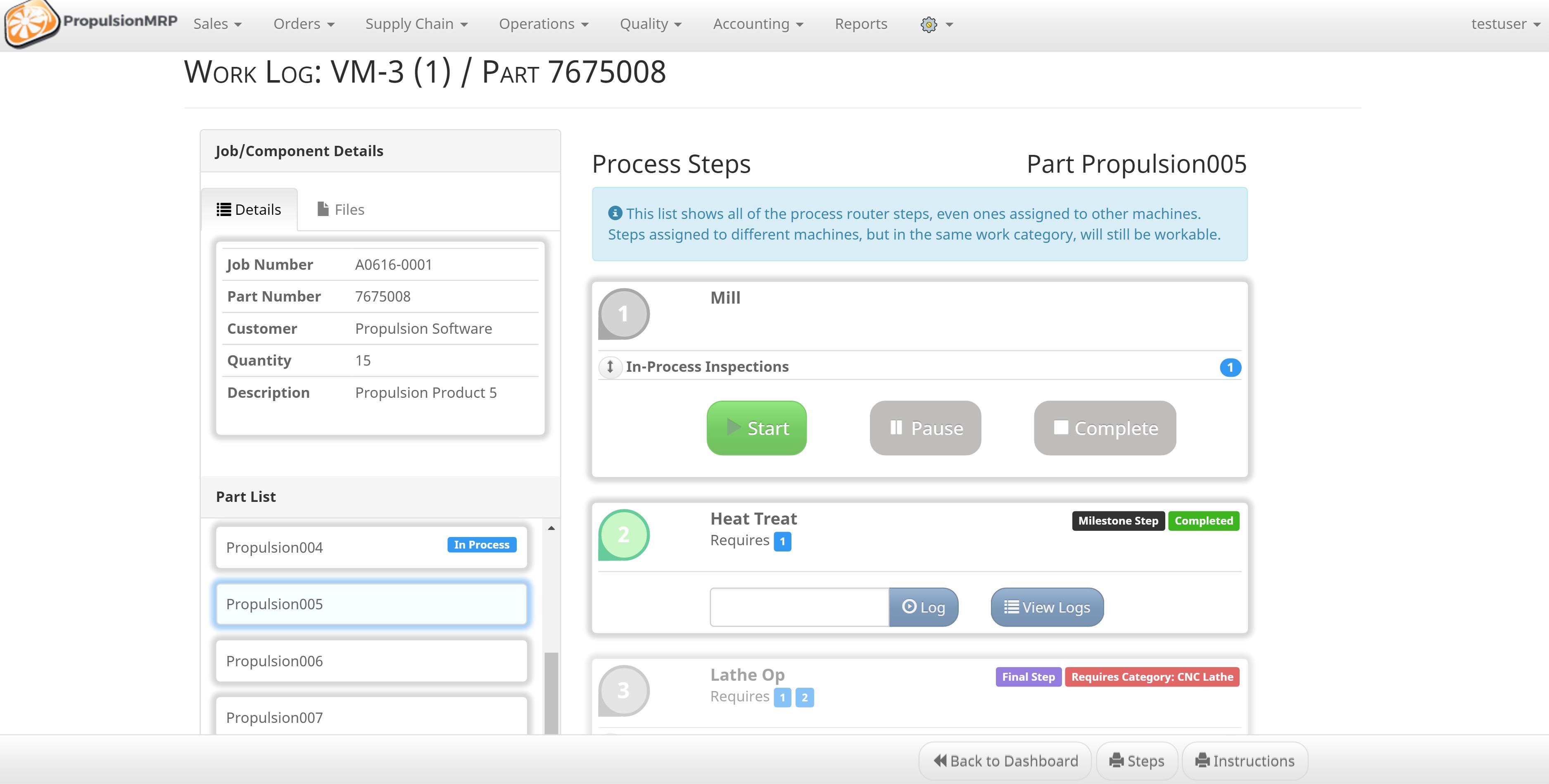 PropulsionMRP Software - Job process