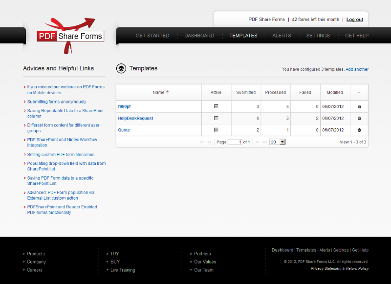 PDF Share Forms shows how many form responses have been submitted and processed, and when the form was last modified