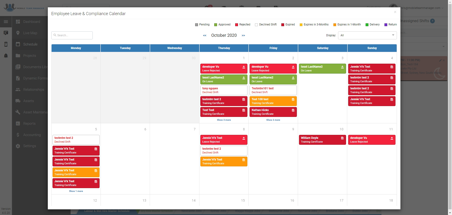 Check everything from employee leave, rego expires, training expires, upcoming services and more using our compliance calendar*