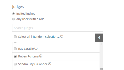 Award Force allows users to select and manage judges, or open judging to all participants