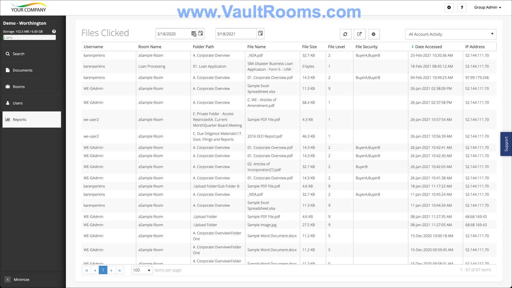 Vault Rooms Reports Screen