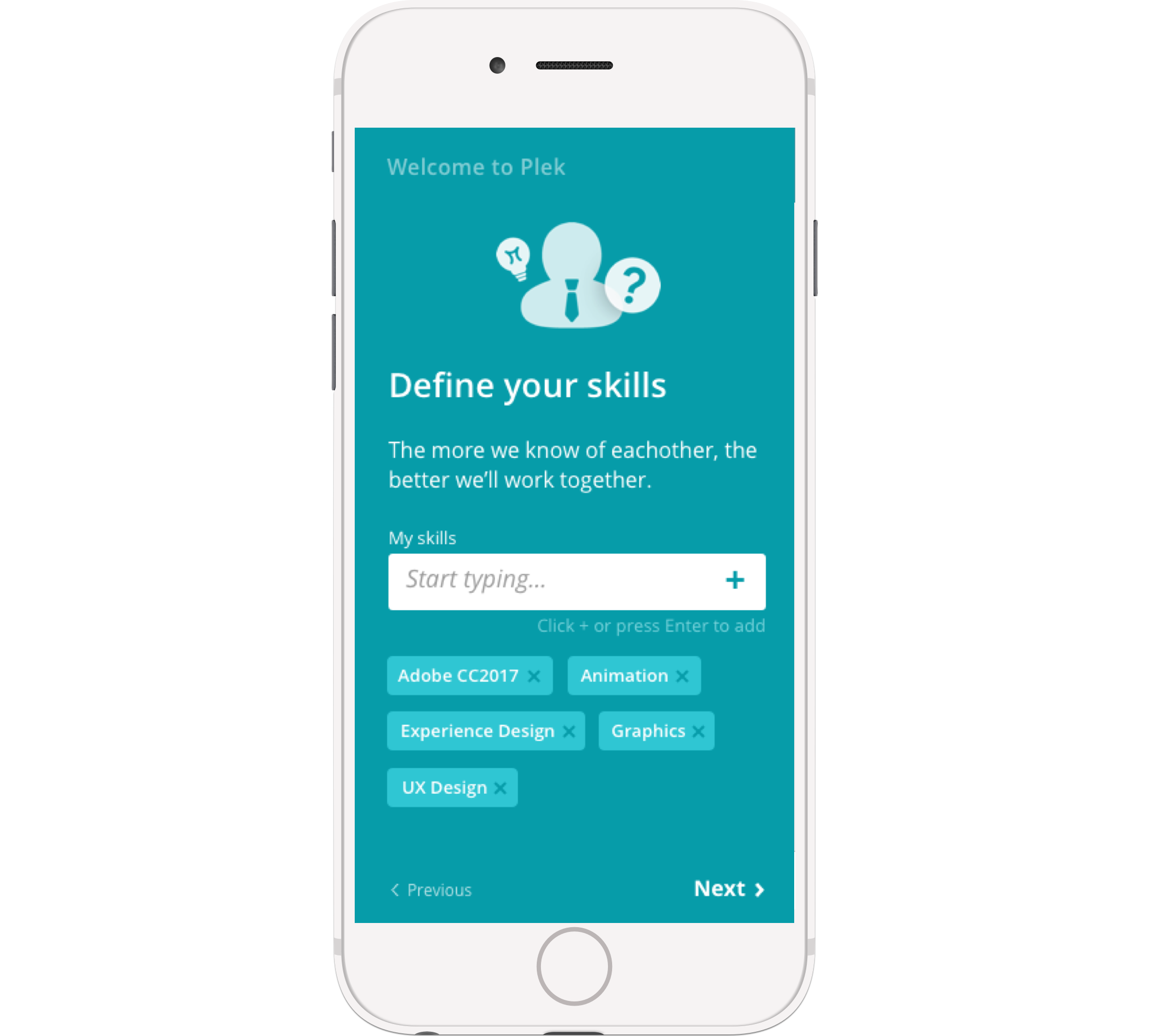 The onboarding can be customized for every organization. It can include, for example, group selection or skills. And profile picture, obviously!