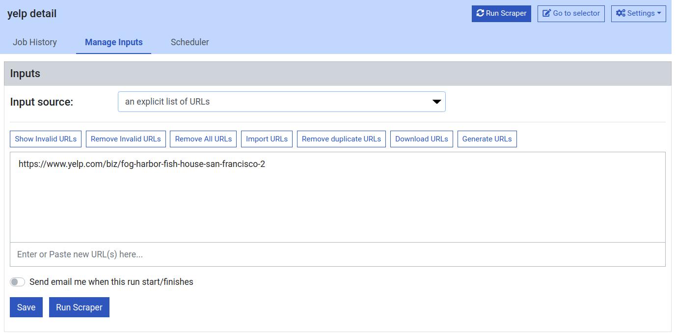 ProWebScrapper URL inputs