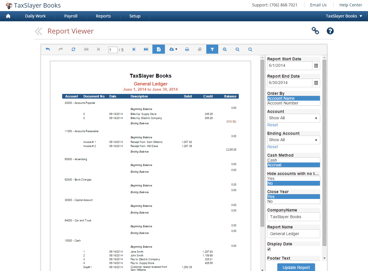 TaxSlayer Books can generate detailed financial reports