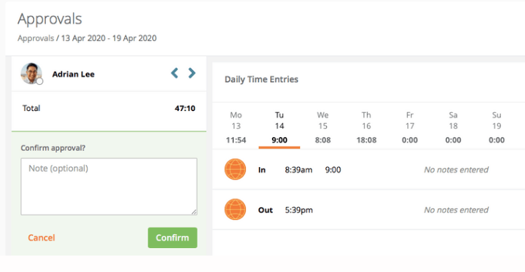Jibble approve timesheets