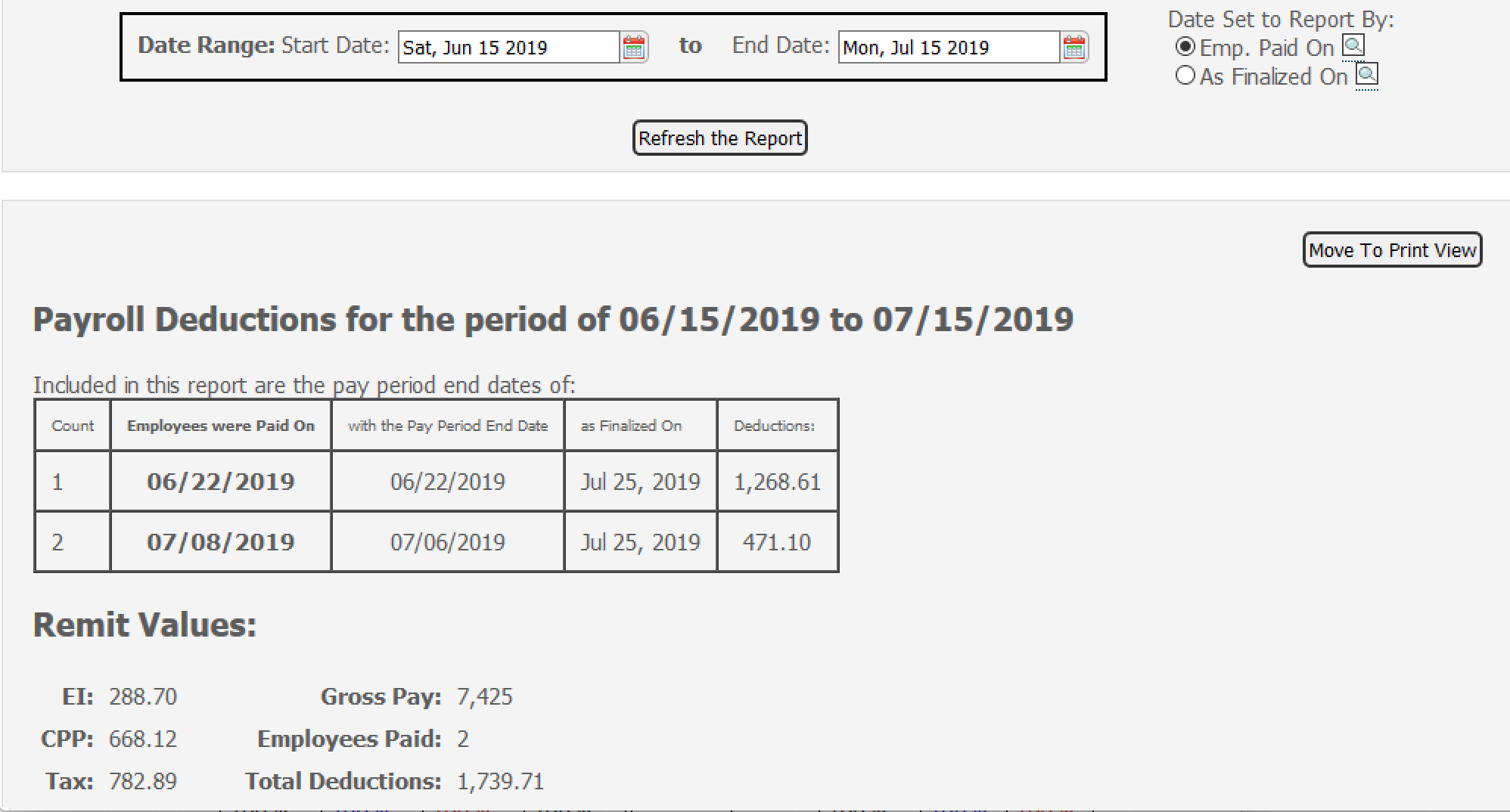Payroll Connected various read reports