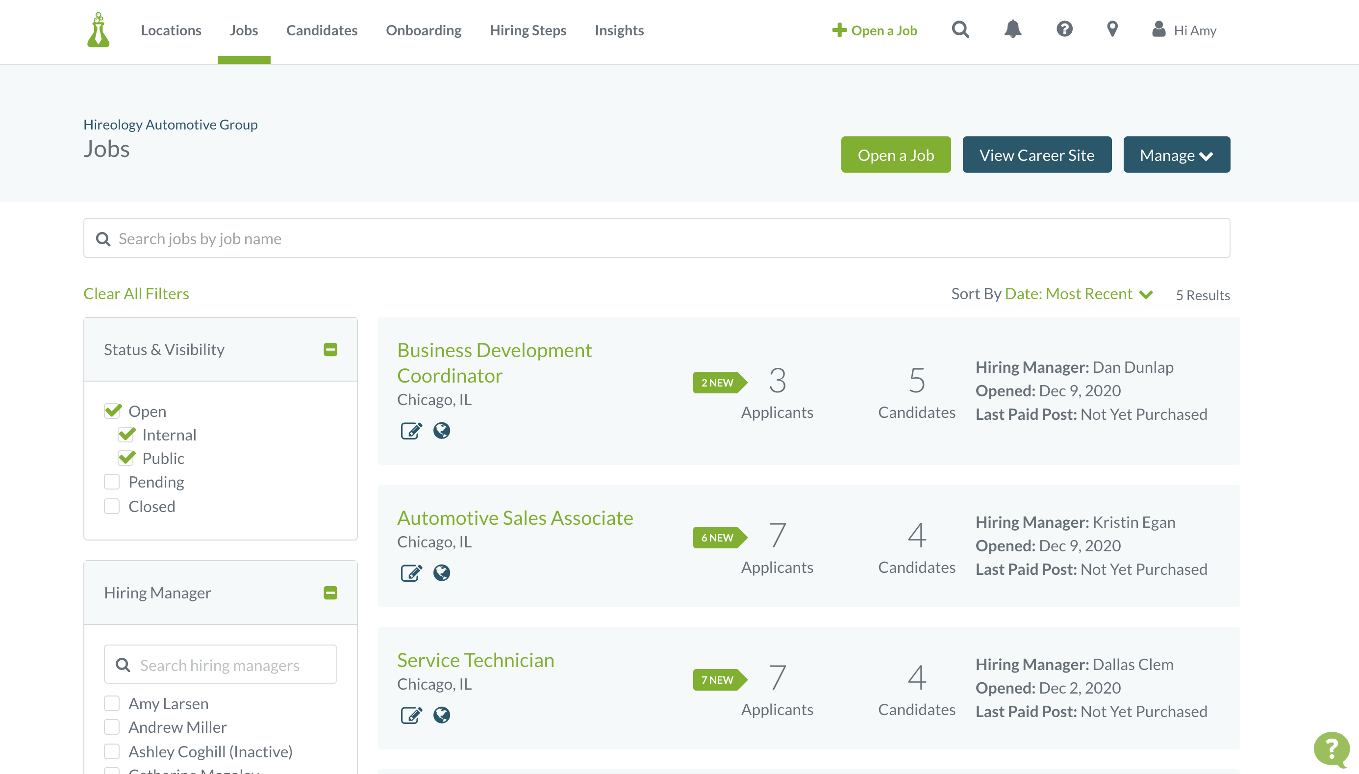 Hireology screenshot: View jobs across multiple teams, hiring managers or locations along with filter and search tools. Get at-a-glance job details like numbers of applicants and candidates, as well as the hiring manager and opening date.