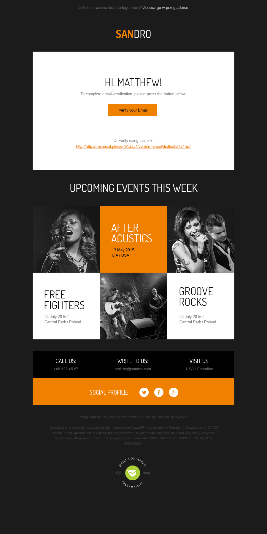 Sandro Welcome Newsleter Template