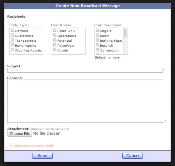Create and send broadcast messages