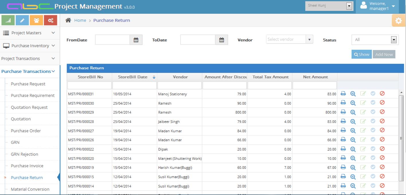 Bhoomi Software - Purchase return