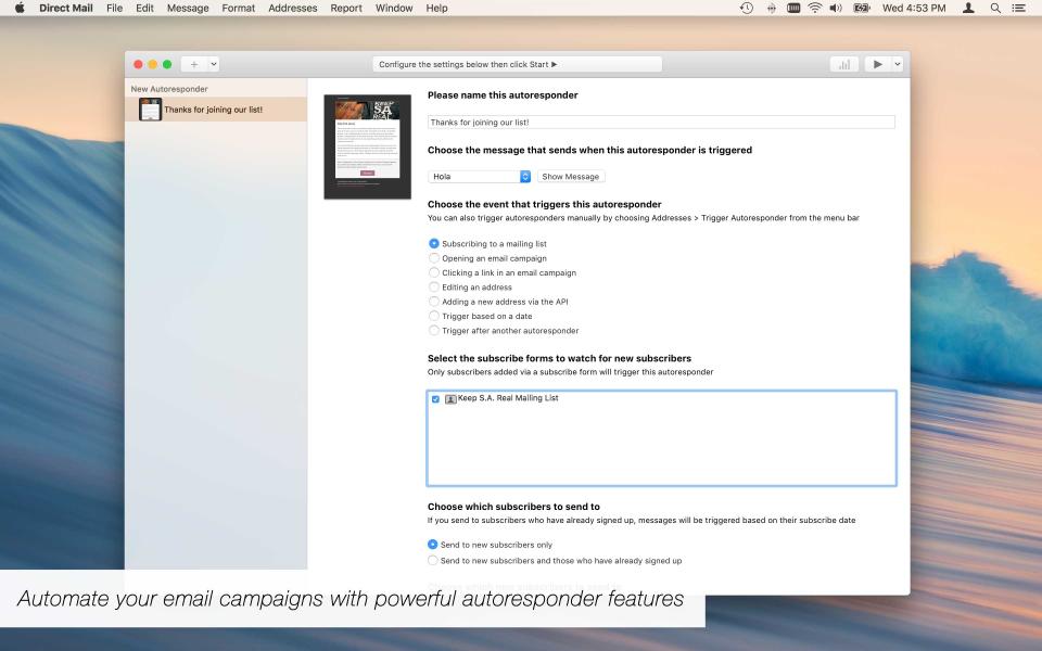 Set event triggered autoresponder emails