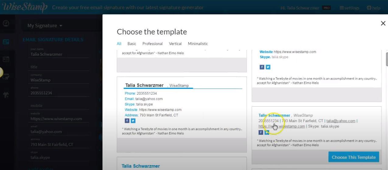 WiseStamp choose templates