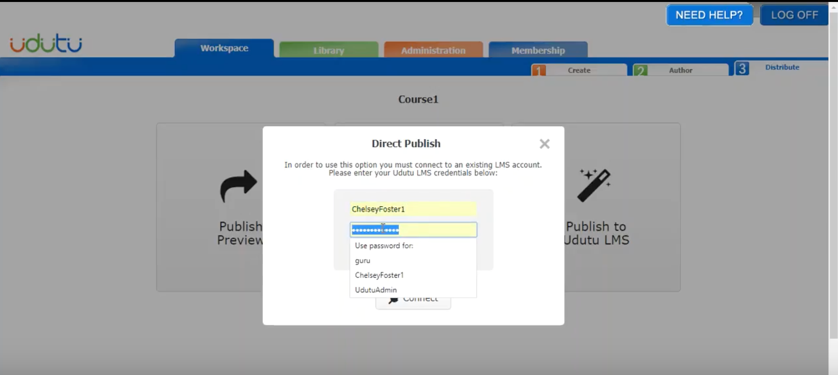 Sign in securely in order to publish courses directly to Udutu LMS