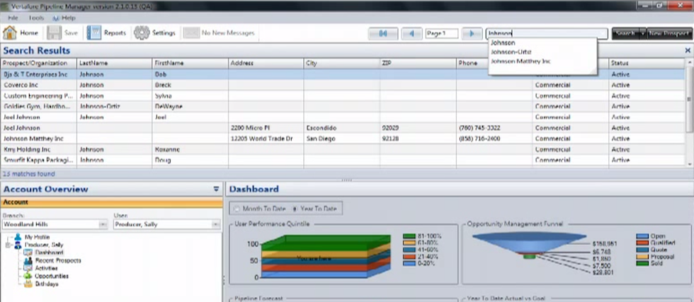 Vertafore Pipeline Manager Software - Search