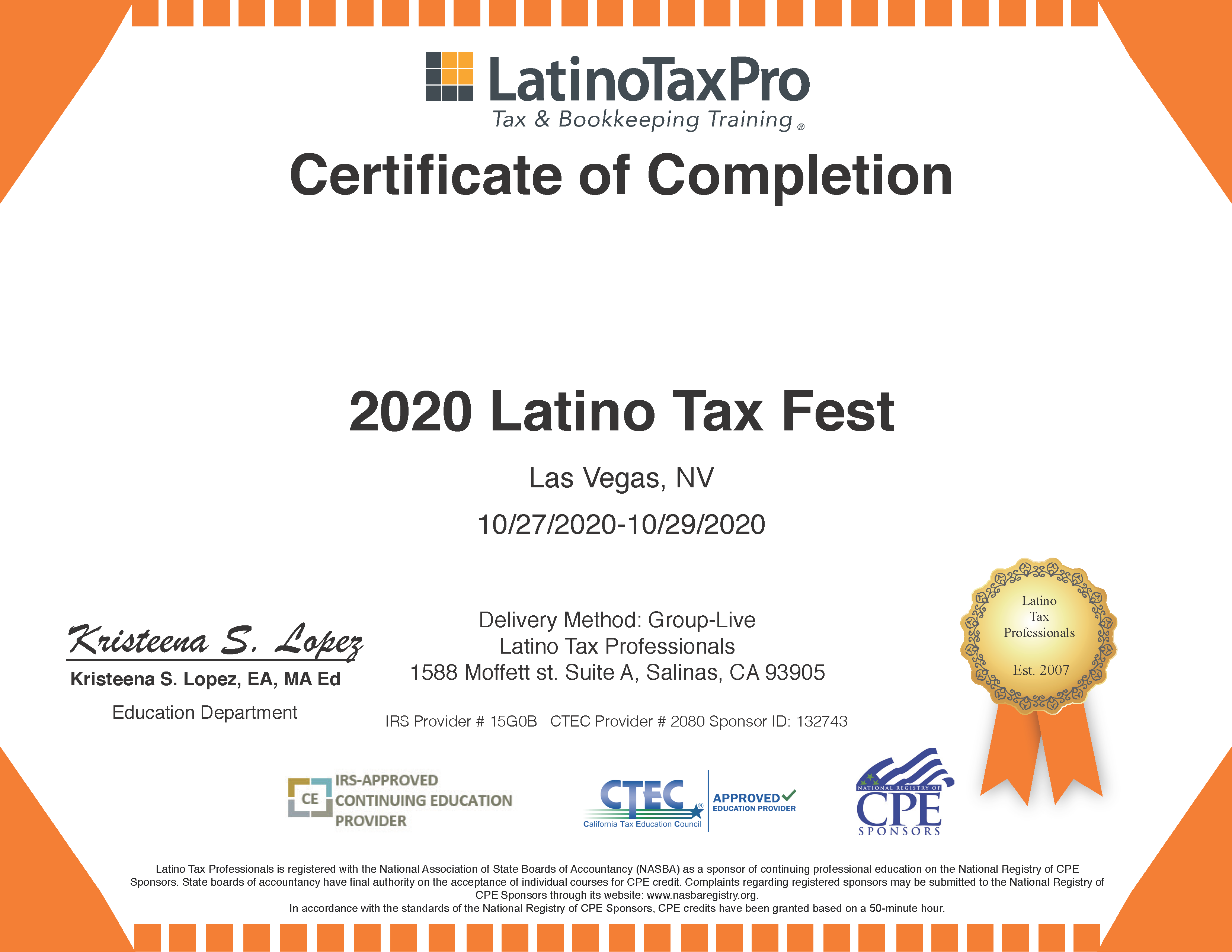Create educational certificates for any event!