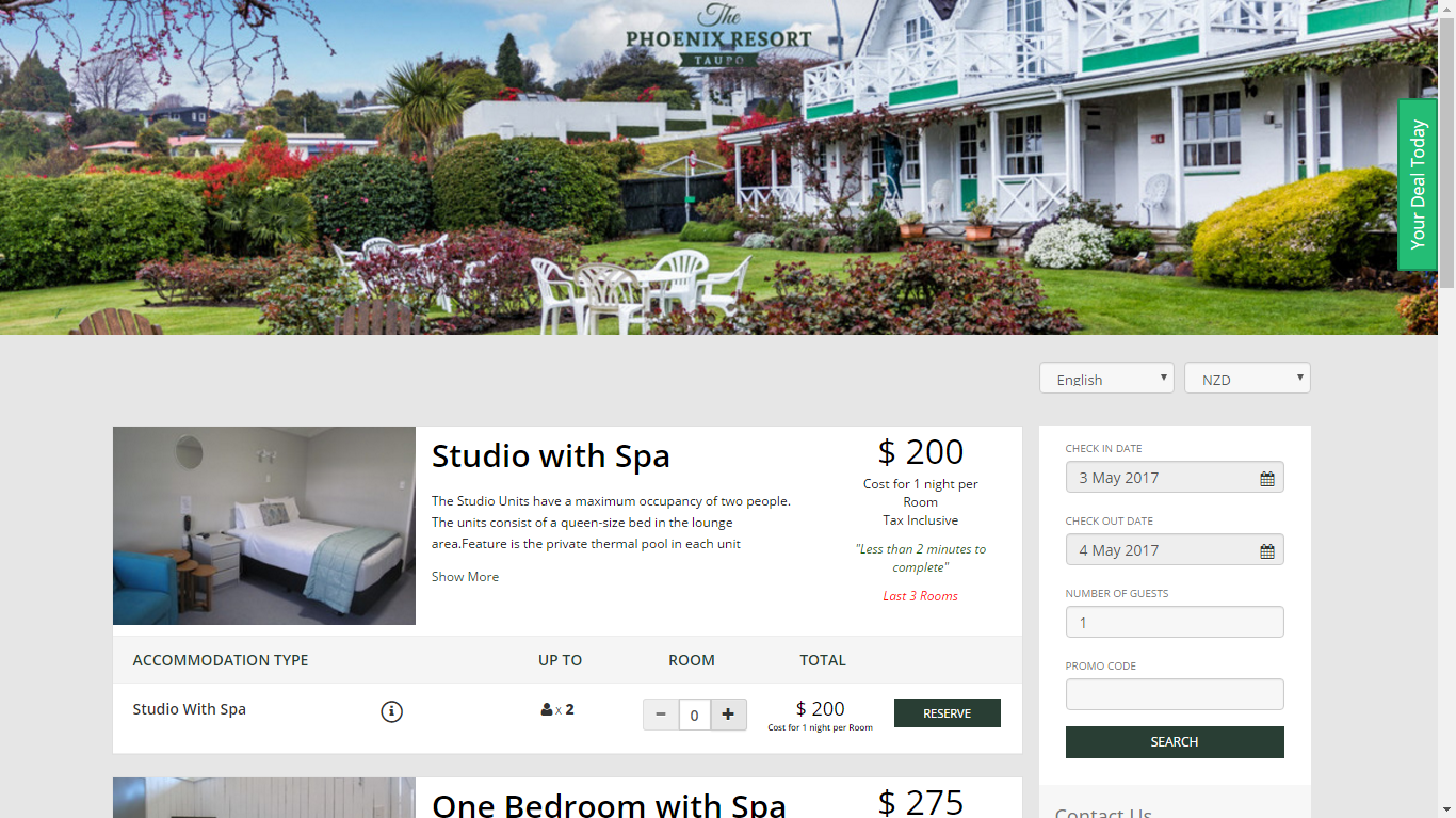 Example booking site