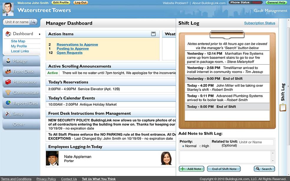 BuildingLink Software - Manager's dashboard