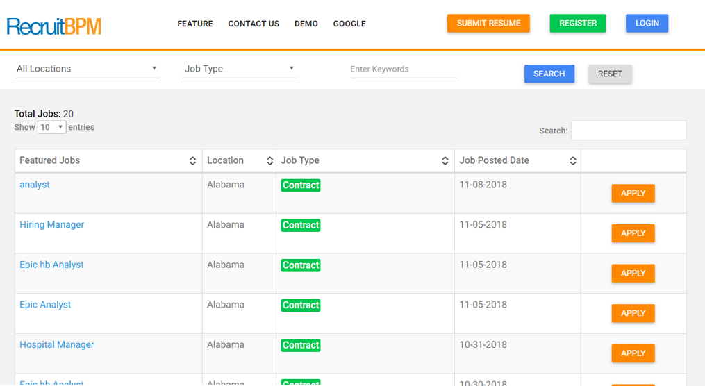 RecruitBPM career portal