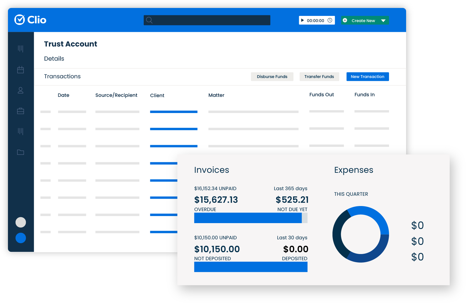 Manage client funds in trust accounts with our legal accounting software. Keep detailed records that separate client funds from your firm's operating funds.