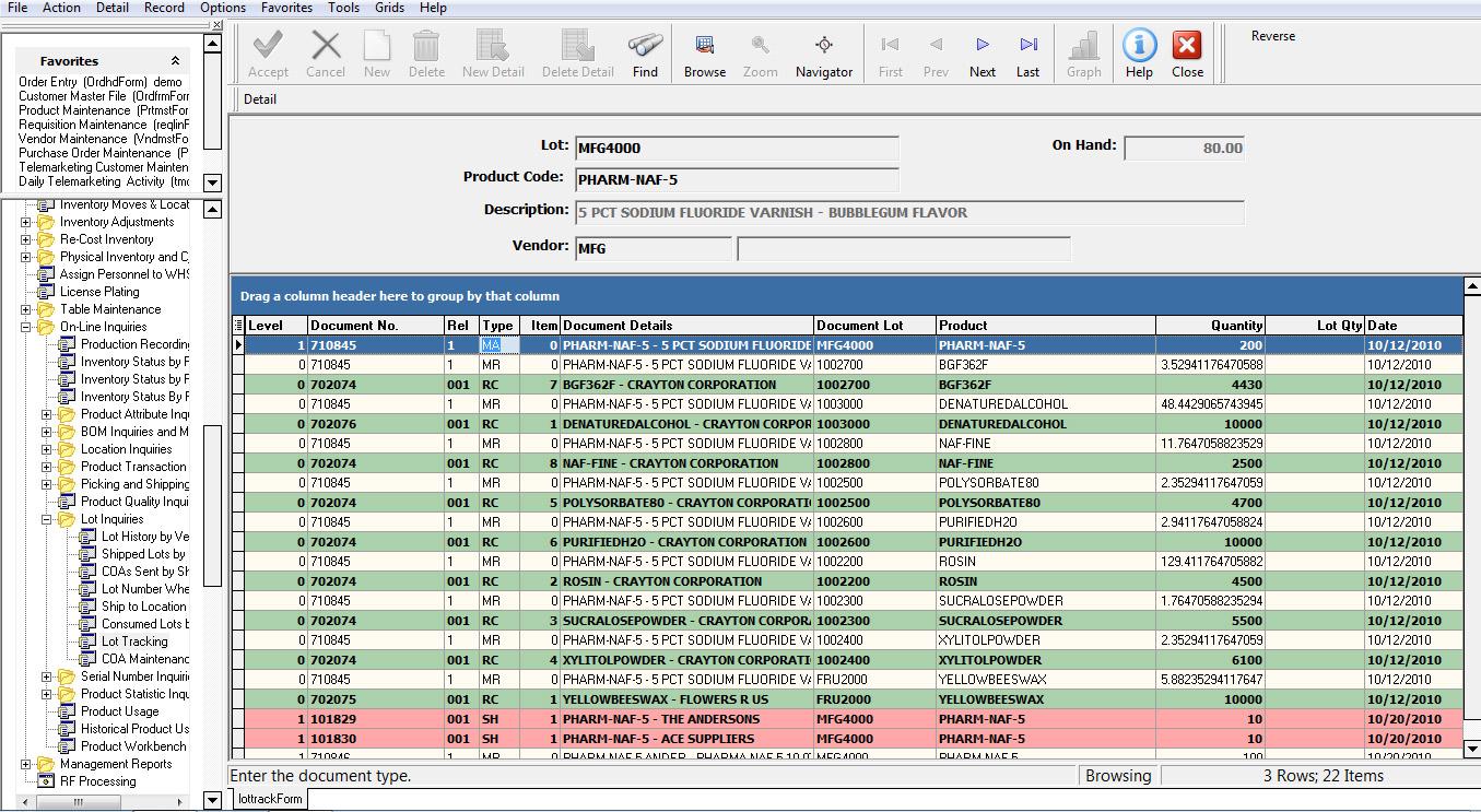 Enterprise 21 ERP Software - Lot Traceability