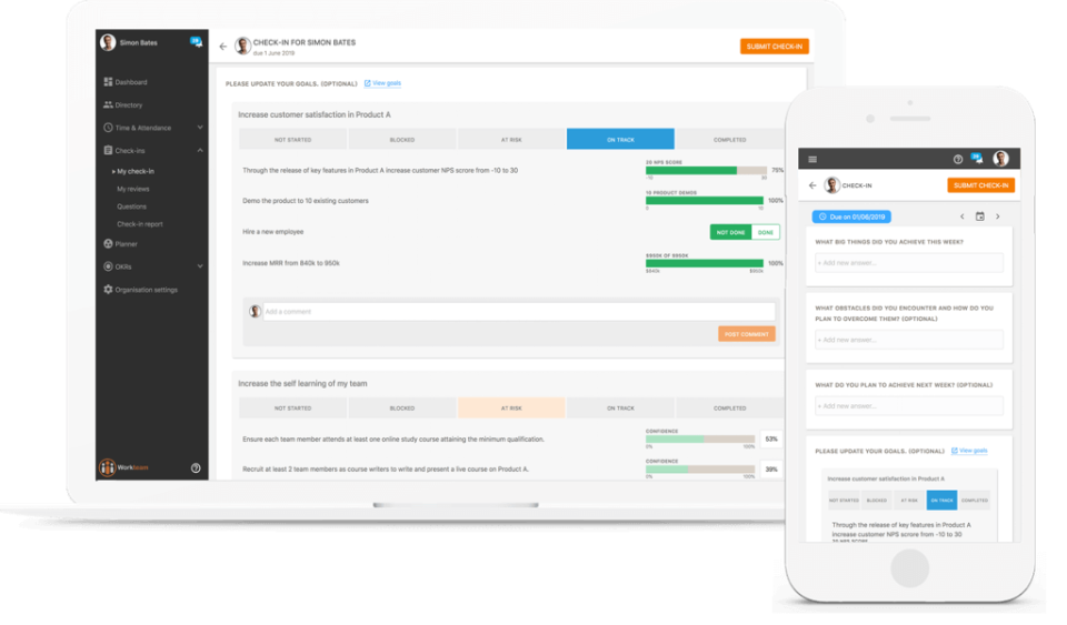 Workteam OKR: employee check-in