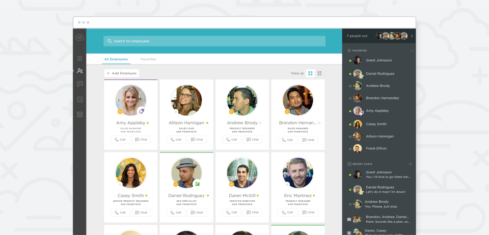 HR Cloud screenshot: Users can call and chat with their colleagues from within People