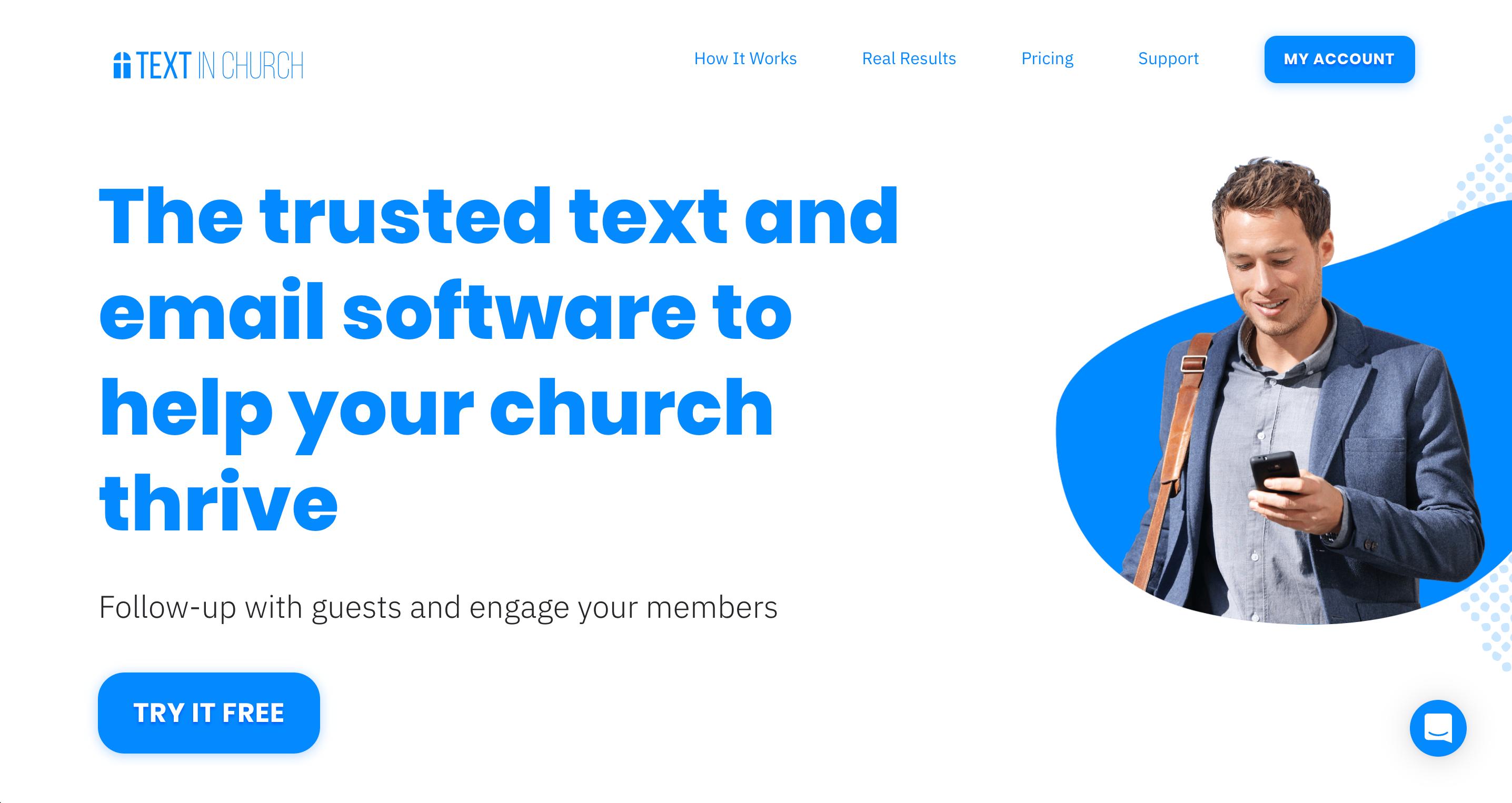 Text In Church screenshot: Text In Church Homepage