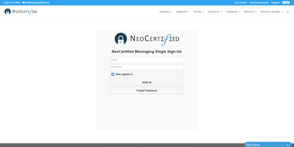 NeoCertified secure cloud portal sign-in