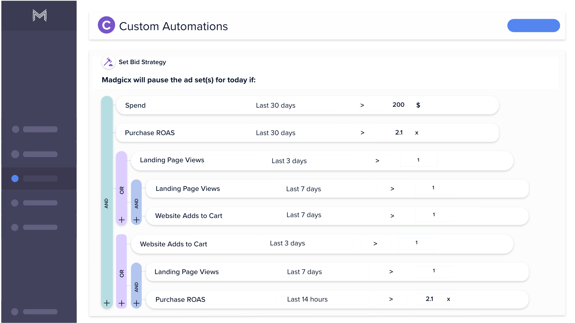 Madgicx custom automations