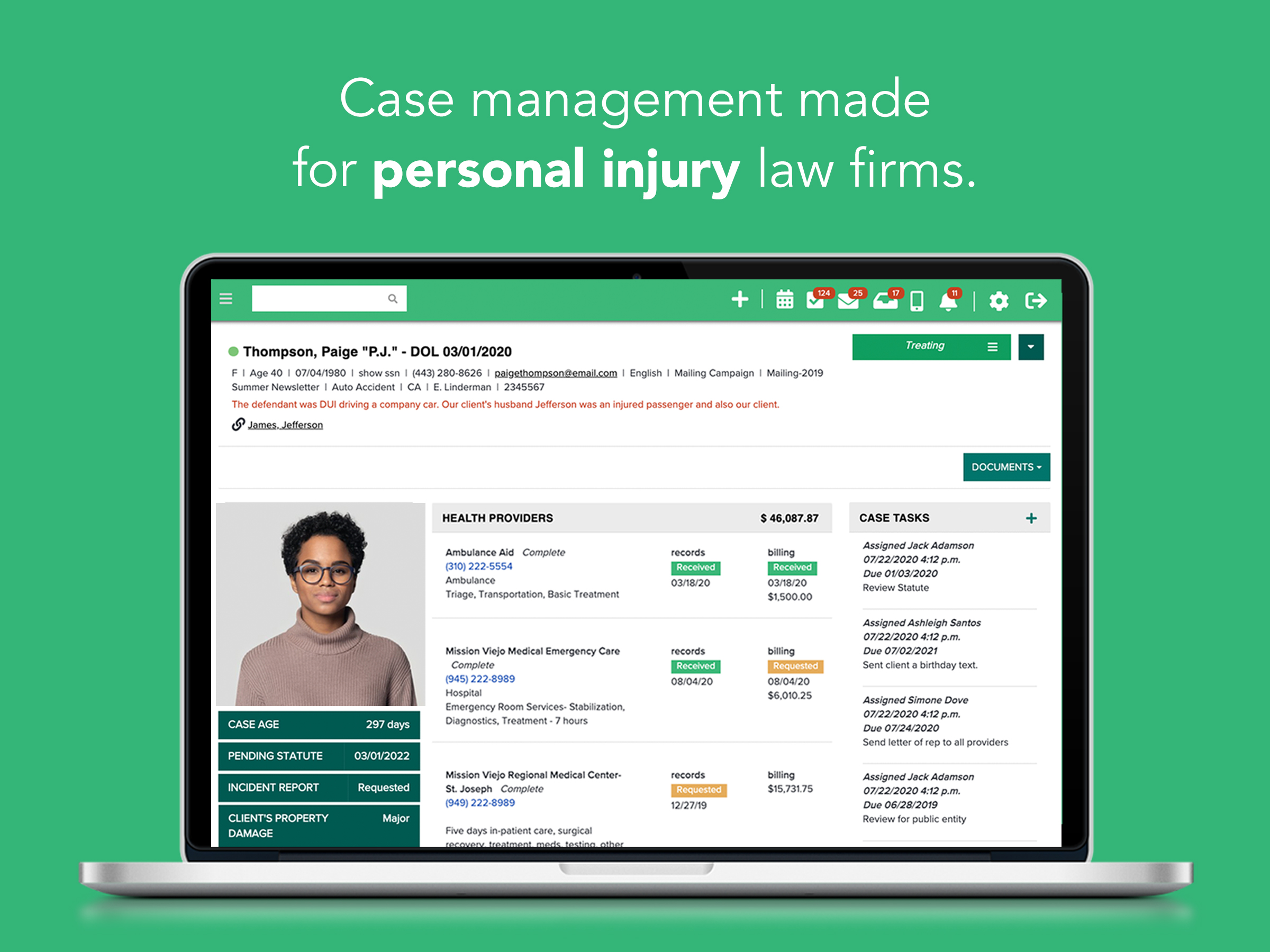 CASEpeer is a blueprint for managing a personal injury law firm. Right from the start, your cases come with every field you and your staff need - no customization required.