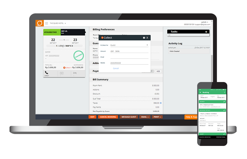 Collect payments online with eCollect and manage room and POS invoicing