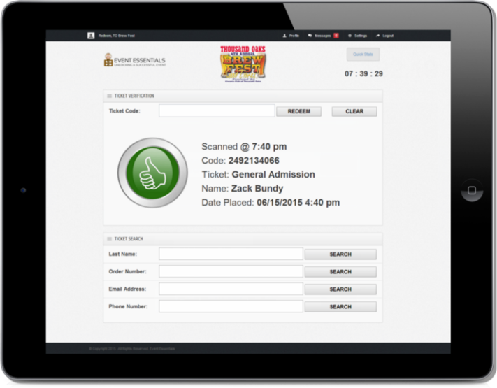 Simple and quick on-site redemption with search capabilities.