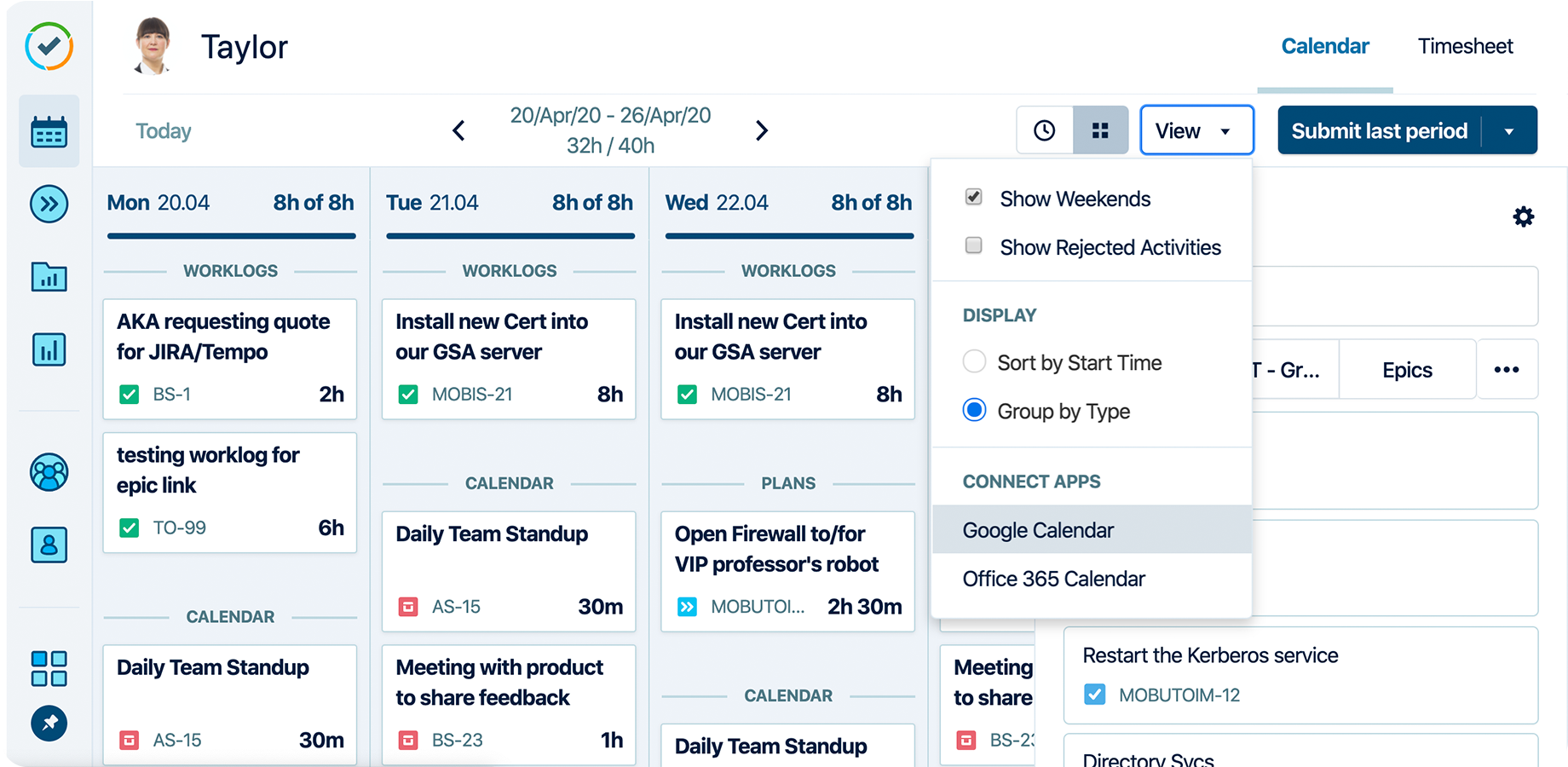 Tempo Timesheets Software - Take advantage of our calendar integrations to automatically fill your timesheet in Jira. Whether you're using Google Calendar or Microsoft 365 calendar, all your scheduled appointments are listed up in Tempo's My Work.