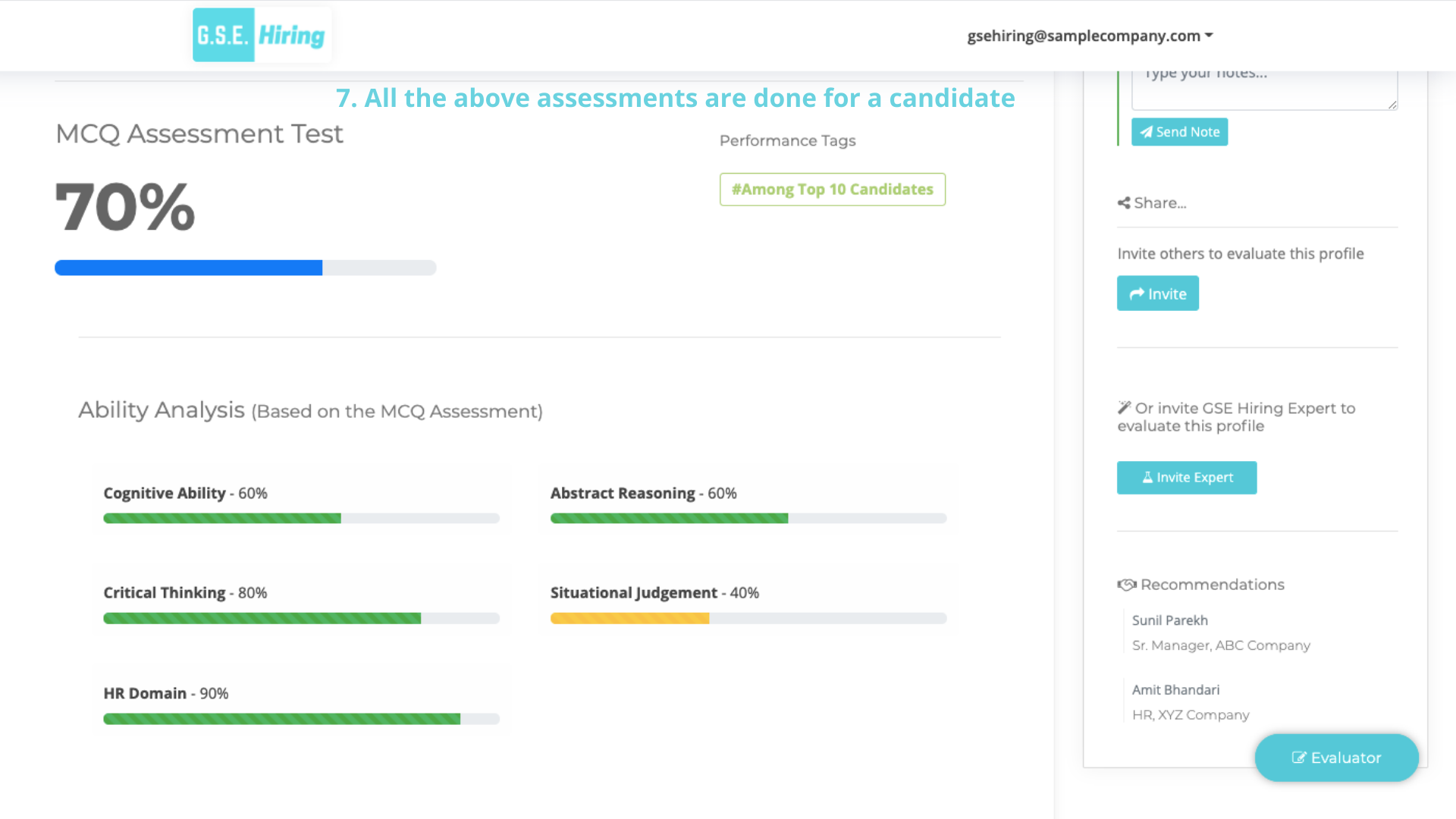 Indepth Screening of Candidates : Compare Candidates Side by Side w.r.t. Practical Performance