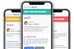 Demandforce screenshot: Increase revenue by managing customer reviews. Receive real-time alerts when a review of your business is posted online and respond with a reply from our Suggested Replies.