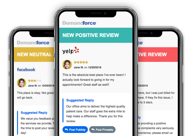 Increase revenue by managing customer reviews. Receive real-time alerts when a review of your business is posted online and respond with a reply from our Suggested Replies.