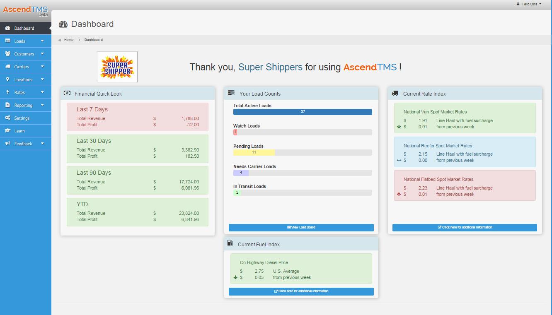AscendTMS Logistics Software Software - Dashboard