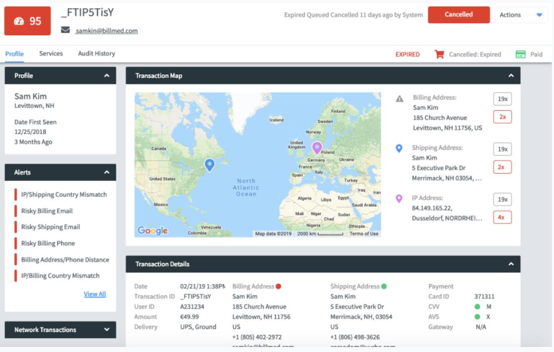 Fraud.net - transaction map