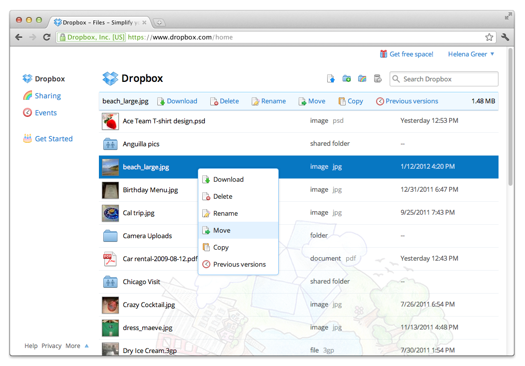 Dropbox Business screenshot: Store files & photos of any format