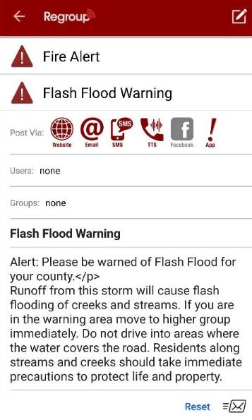 Regroup Mass Notification alert description