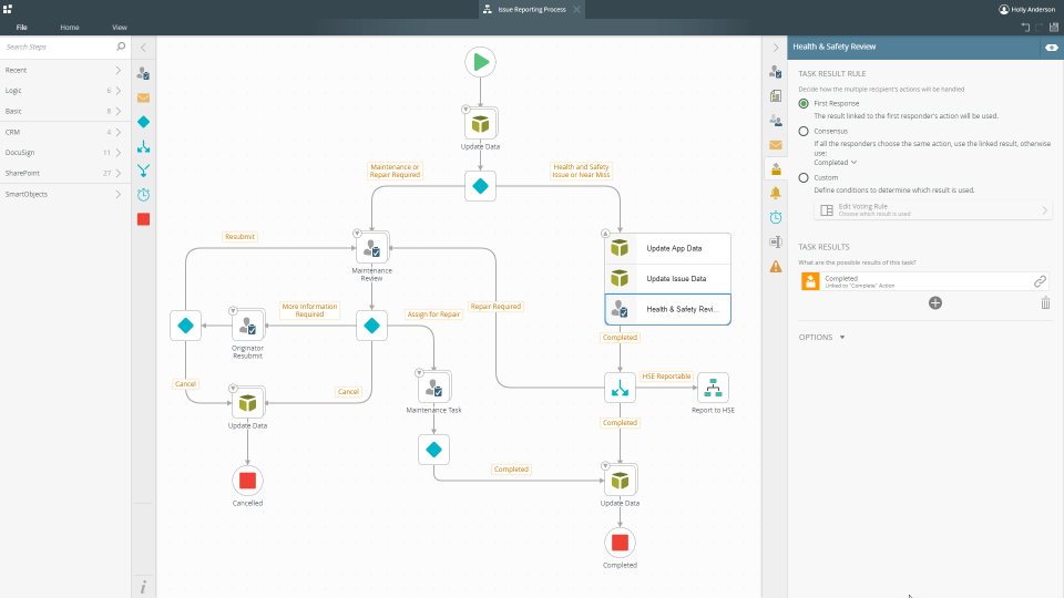 K2's browser-based designer allows users to create workflows without any code