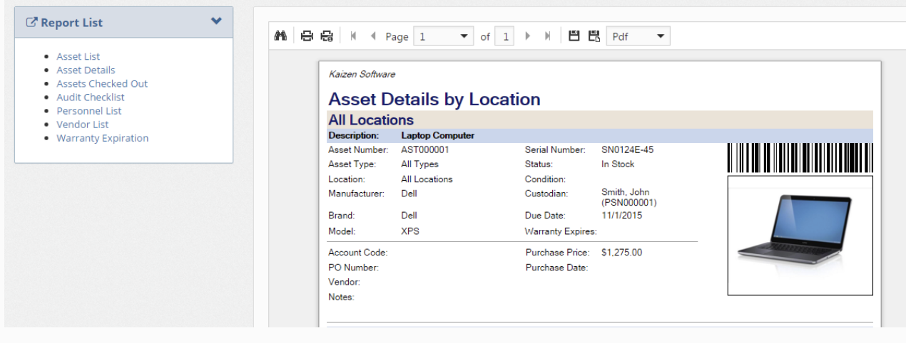 Asset Manager Web Edition Reports