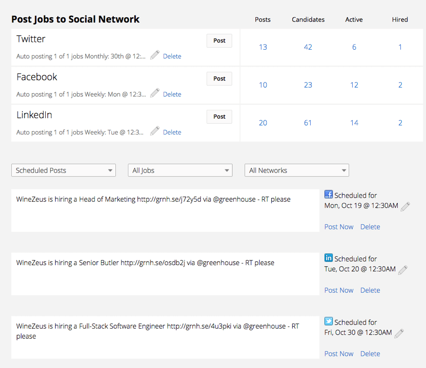 Greenhouse post job openings on social media platforms