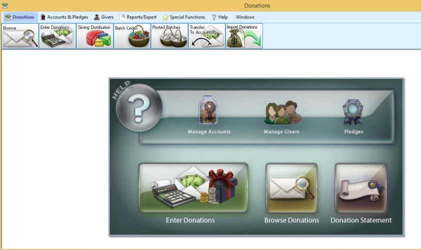 Church administrator can track and record donations with Church Windows