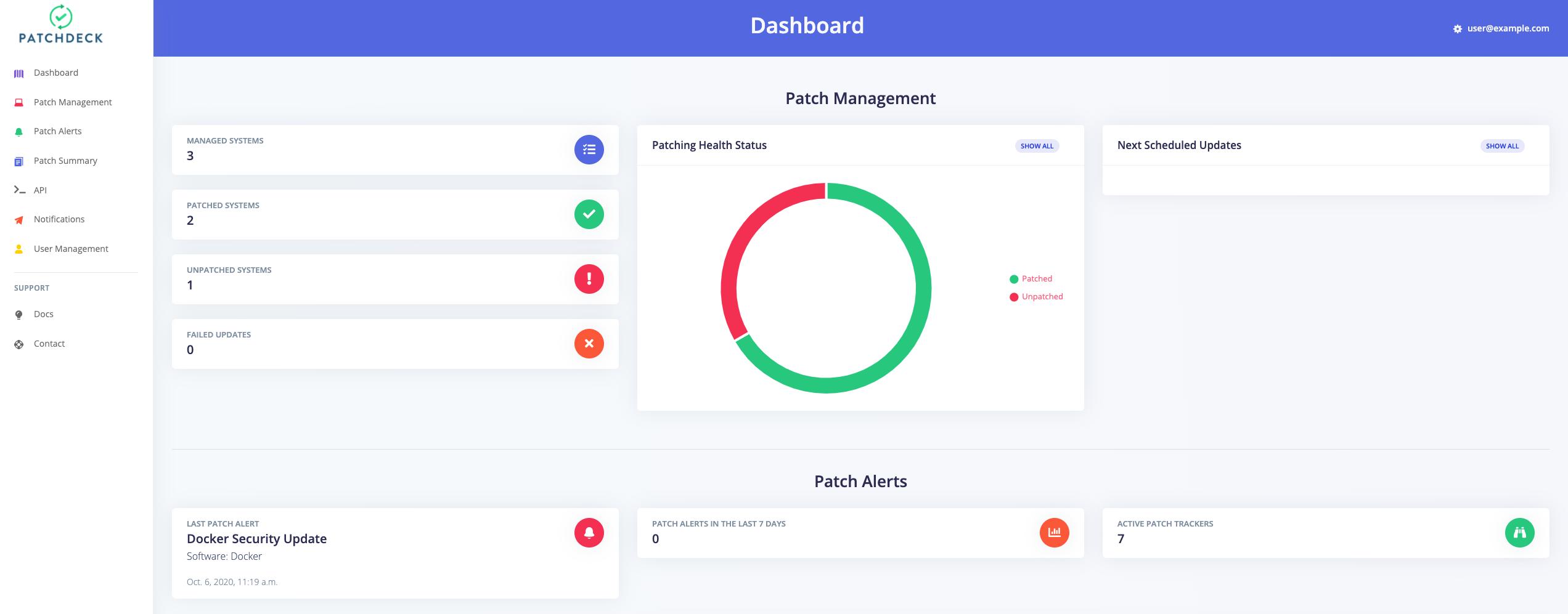 Patchdeck application dashboard