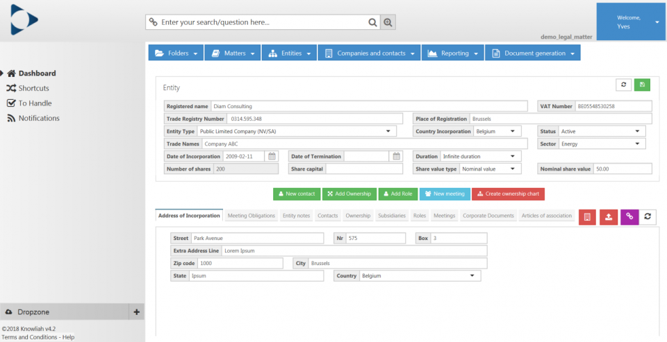Knowliah entity management screenshot