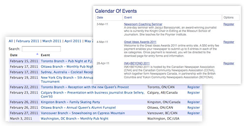 Events can be created, managed, and shared with Exware