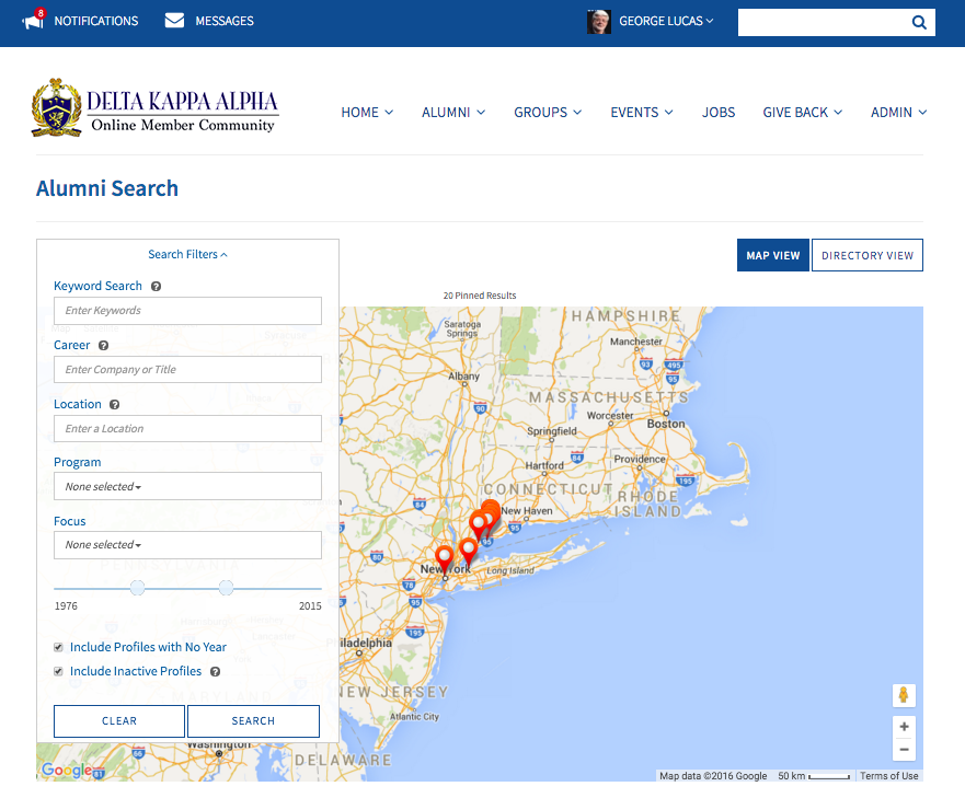 360Alumni interactive map