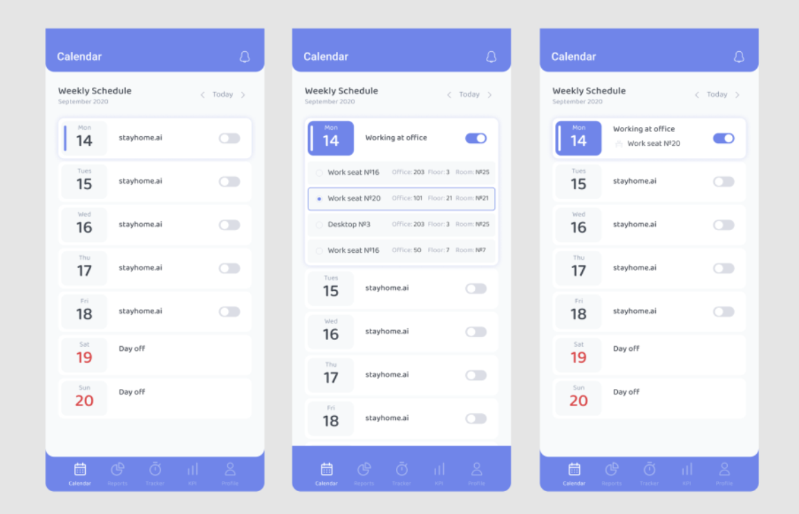 stayhome.ai Software - stayhome.ai - mobile app schedule