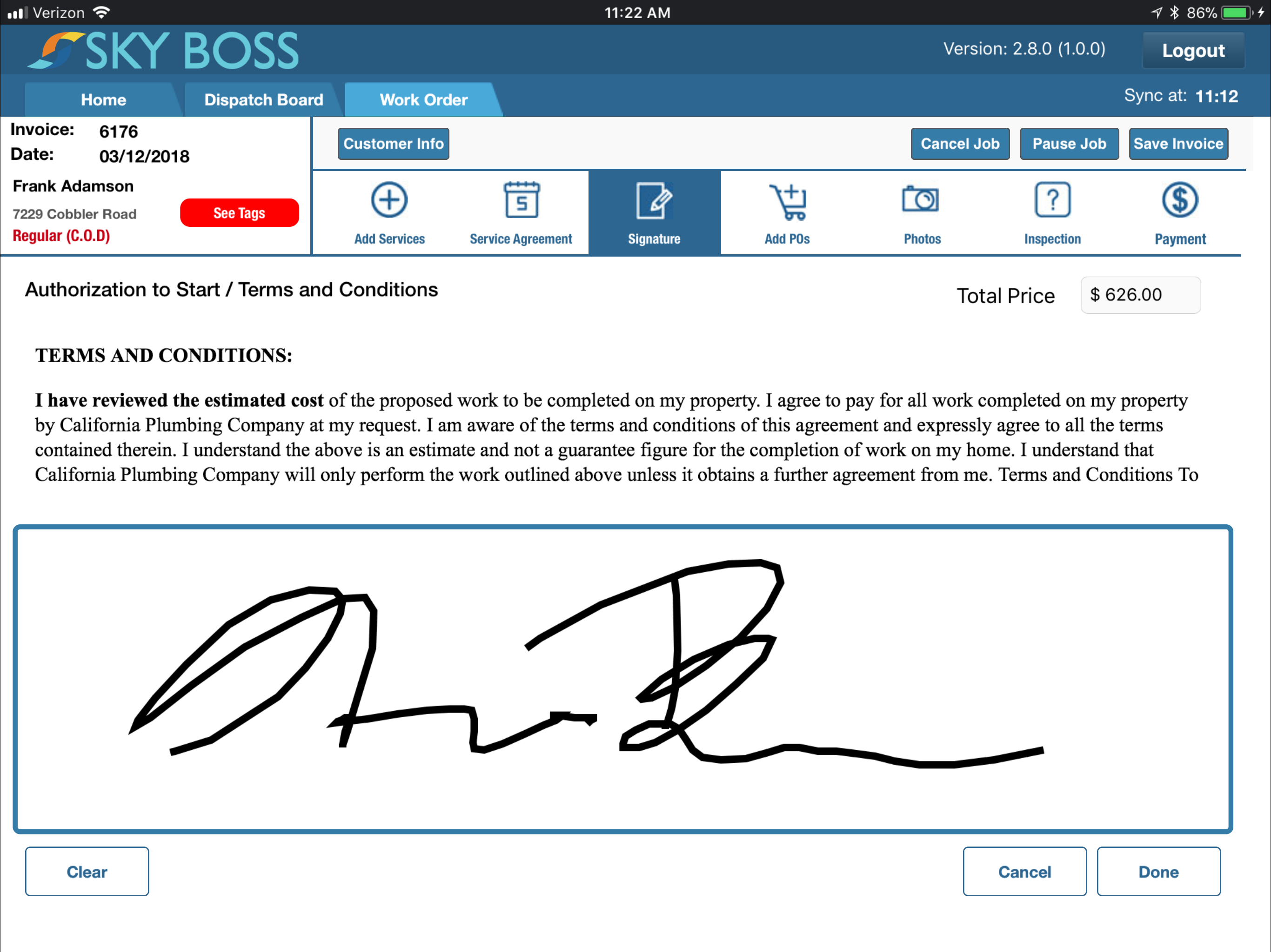 Billing and invoicing capabilities include the ability to capture customer signatures digitally, and log all transaction records